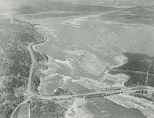 Kettle Falls - Aerial view of Kettle Falls, partially exposed during drawdown in April 1969.
