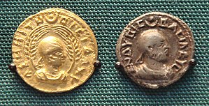 "Ethiopia - Aksumite currency of the Aksumite king Endubis, 227–35, at the British Museum. The inscriptions in Ancient Greek read ""ΑΧΩΜΙΤΩ ΒΑΣΙΛΕΥΣ"" (""KING OF AXUM"") and ""ΕΝΔΥΒΙΣ ΒΑΣΙΛΕΥΣ"" (""KING ENDUBIS""), the Greek language was the lingua franca by that time so the Axumite kings used it in coins to simplify foreign trade."