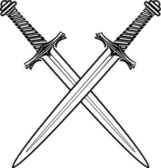Knights Templar (Freemasonry) - Two downward pointing swords in saltire, symbol of the Order of St Paul.
