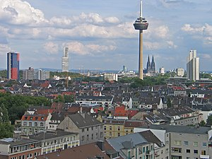 Ehrenfeld, Cologne - aerial view of Ehrenfeld with the Colonius telecommunications tower in the background