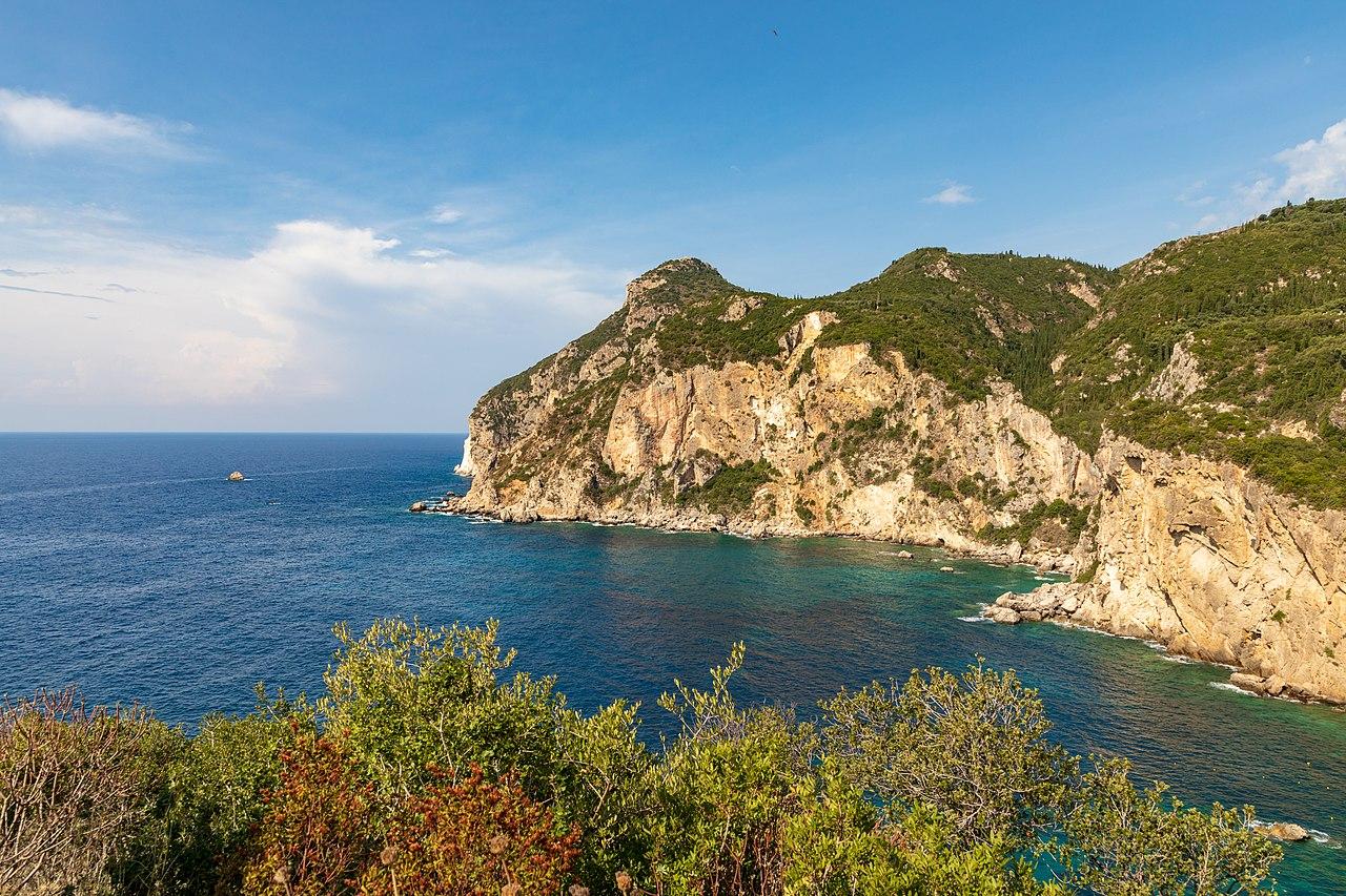 A panoramic view of Paleokastritsa beach in Corfu