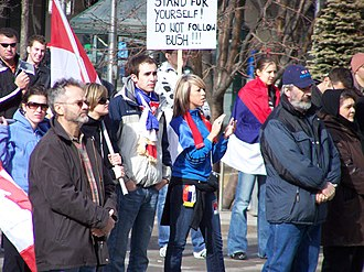 Serbian Canadians - A rally against the independence of Kosovo, 2008.