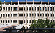 Murray Krieger Hall in the School of Humanities, named after an inspirational professor and an example of the Brutalist architecture of the campus.