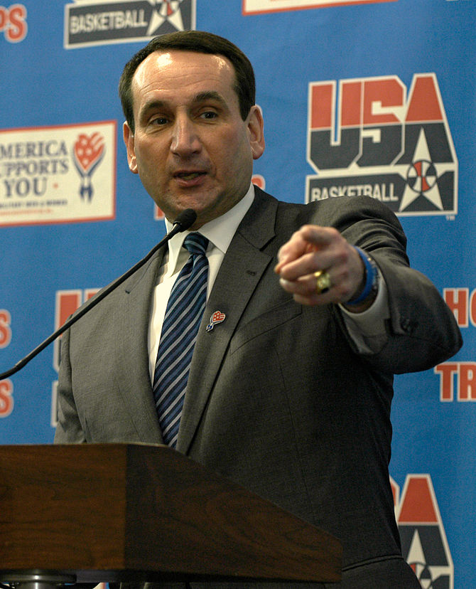 English: Mike Krzyzewski, USA Basketball Natio...