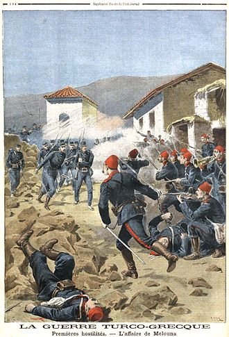 Greco-Turkish War (1897) - The first skirmishes at the Melouna border post, Le Petit Journal