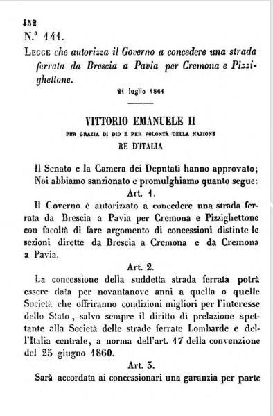 File:L. 21 luglio 1861, n. 141, che autorizza il Governo a concedere una strada ferrata da Brescia a Pavia per Cremona e Pizzighettone.djvu