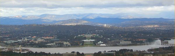 Lake Burley Griffin and Parliament House from Mt. Anslie