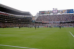 "A photo of the ""Casa Blanca""، LDU Quito's stadium، showing their biggest firm ""La Muerte Blanca""."