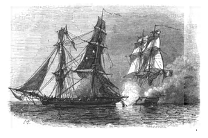 Ange René Armand, baron de Mackau - The brig Abeille raking HMS ''Alacrity'' on 26 May 1811. Engraving by Antoine Léon Morel-Fatio.