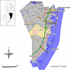 Map of Lacey Township in Ocean County. Inset: Location of Ocean County highlighted in the State of New Jersey.