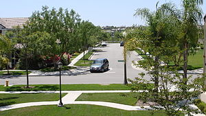 Ladera Ranch, California - A photograph looking down 3rd St at Mercantile Way in Ladera Ranch