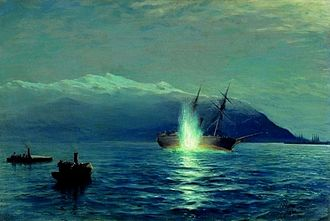 Torpedo boat tender - The first successful attack by self-propelled torpedoes. The Turkish ship Intibah is destroyed by torpedo boats from Velikiy Knyaz Konstantin torpedo boat tender. A painting by Lev Lagorio.