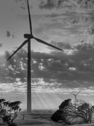 Wind power in Australia - Early morning at the 239 MW Lake Bonney Wind Farm.