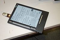 iLiad E-book reader equipped with e-paper display