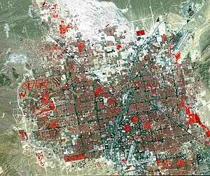 False color - A traditional false-color satellite image of Las Vegas. Grass-covered land (e.g. a golf course) appears in red.