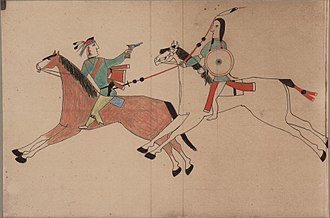 Cheyenne - Ledger drawing showing a battle between a Cheyenne warrior (right) and an Osage or Pawnee warrior (left).
