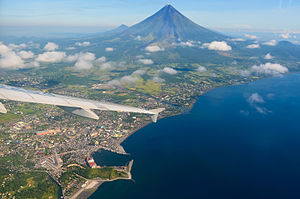 Albay Gulf - An aerial view of the gulf beside Legazpi City with Mayon Volcano in the background