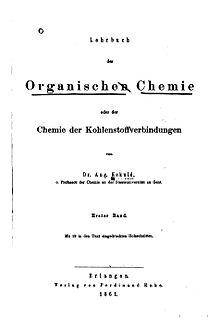 Un trattato sulla chimica organica di Friedrich August Kekulé von Stradonitz del 1861.