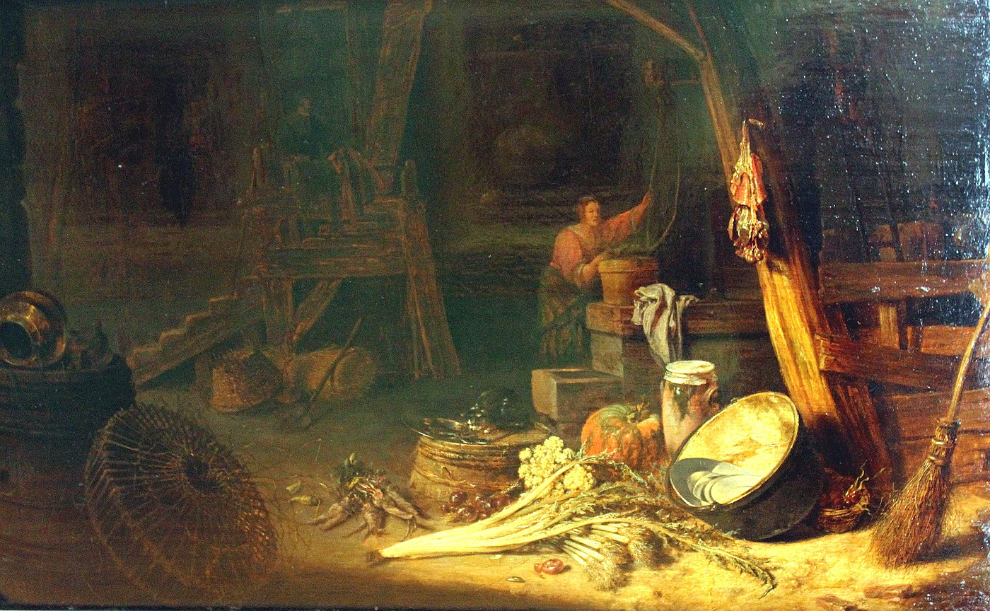 Farm interior with a woman at a well