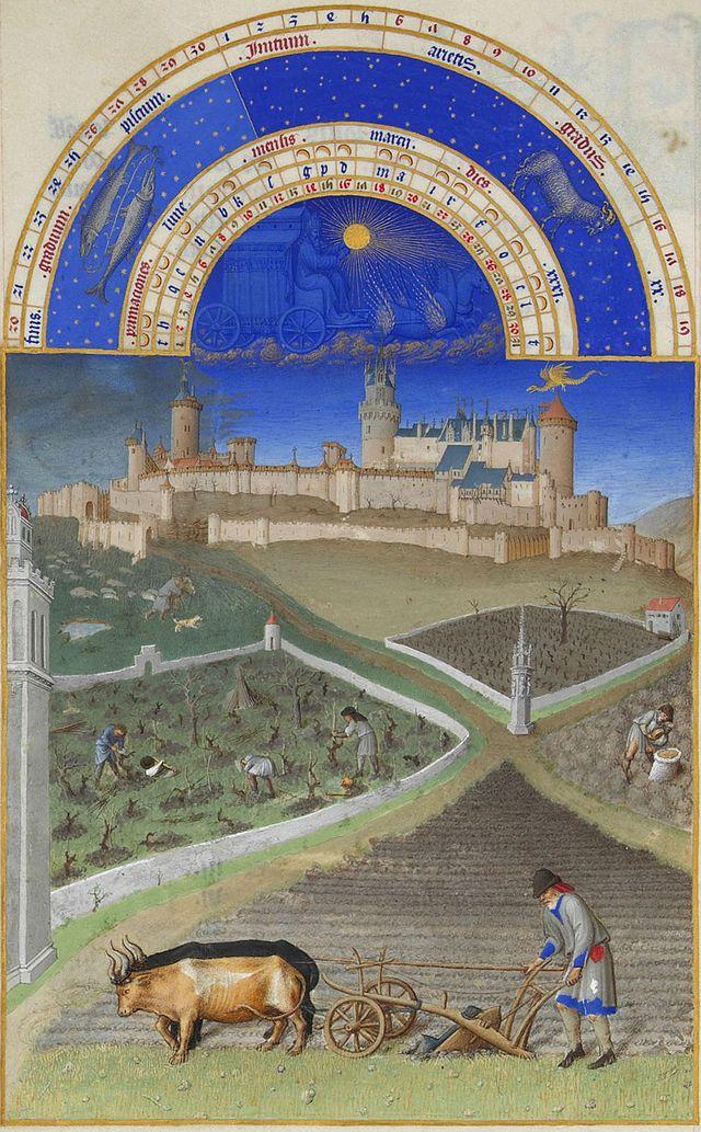 Pflügen und Rebschnitt im Stundenbuch des Duc de Berry, Anfang 15. Jh. Chantilly, Musée Condé, Ms.65, fol.3v.