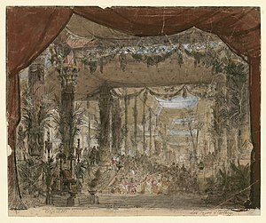 Les Troyens - Set design for the throne room (1863)