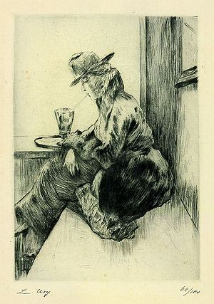 Drypoint - Woman in Cafe, drypoint by Lesser Ury showing the typical rich blurred line of drypoint.