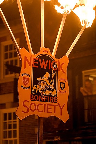 Newick - The bonfire society banner at Lewes