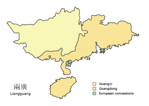 Liangguang - The provinces of Guangdong and Guangxi, c. 1900. Note that a western part of Guangdong south of Guangxi in this map has since been given to Guangxi to give it access to the sea by the People's Republic of China in 1952 and 1965, although it is not recognized by the Republic of China.