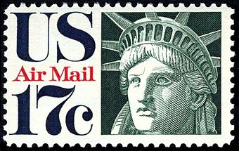 Head of Liberty, U.S. airmail stamp, 1971 issue Liberty issue 17c 1971.JPG