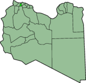 'Aziziya District - Map of Libya showing 'Aziziya pre-2001 extent in bright green