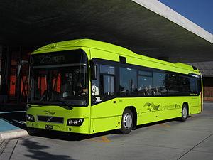 Liechtenstein Bus - Volvo 7700 Hybrid at Schaan railway station in July 2013