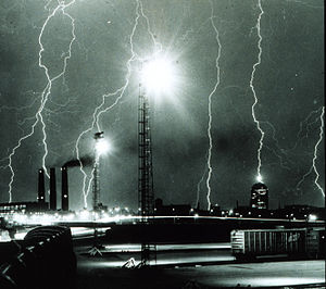 South Bay Incinerator - A lightning storm over Boston in 1967 with the incinerator to the bottom-left of the image