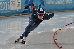 Lillehammer 2016 - Speed skating Men's 500m race 2 - Min Seok Kim.jpg