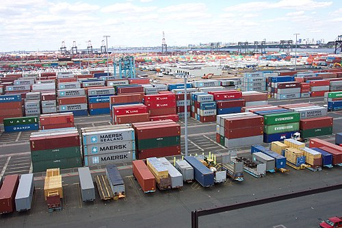 Shipping containers at the Port Newark–Elizabeth Marine Terminal, part of the Port of New York and New Jersey.