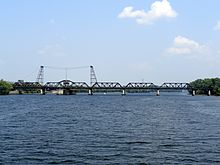 View of Livingston Avenue Bridge crossing the Hudson River, looking upstream or north