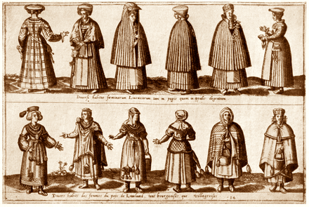 Citizens (upper panel) and commoners (lower panel) in medieval Livonia, 16th century LivoniaCitznsCmmnrs.png