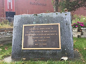 Playground - Plaque to mark the spot where the Playground movement began in Nova Scotia (1906), Local Council of Women of Halifax, Nova Scotia