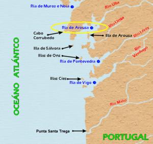 Ría de Arousa - Map showing the location of the Ría de Arousa