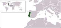 A map showing the location of Portugal