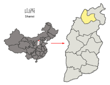 Location of Shuozhou Prefecture within Shanxi (China).png