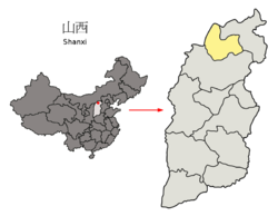 Location of Shuozhou City jurisdiction in Shanxi