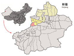 Zhaosu County (red) within Ili Prefecture (yellow) and Xinjiang