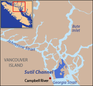 Sutil Channel - Sutil Channel at the northern end of the Strait of Georgia extends deep into the Discovery Islands.