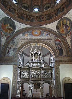 Basilica of Sant'Eustorgio - The Portinari Chapel with the tomb of Saint Peter Martyr by Giovanni di Balduccio and dated 1339.