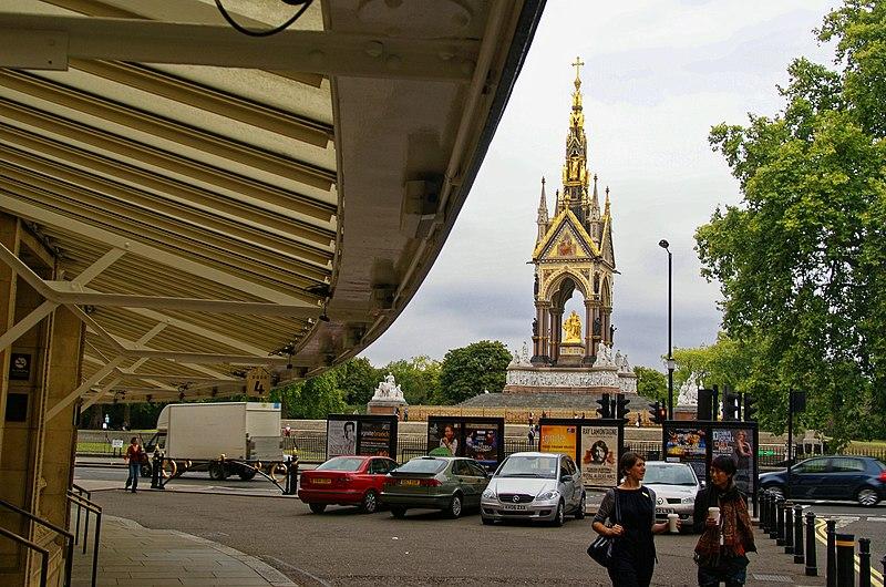 File:London - Royal Albert Hall 1871 - View NNW towards Albert Memorial 1875 Sir George Gilbert Scott.jpg