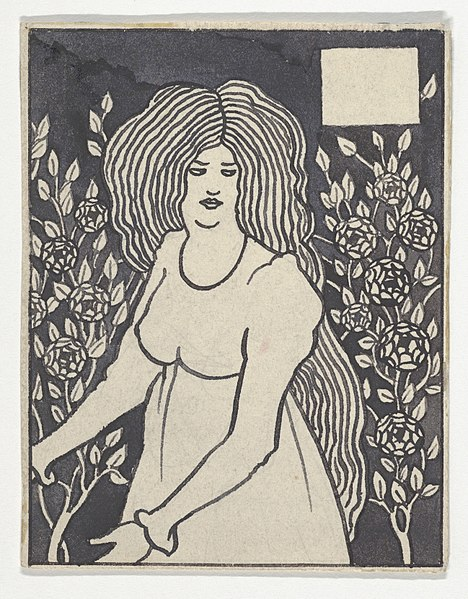 """File:Long-haired Woman in Front of Tall Rosebushes (Chapter Heading, Thomas Malory, """"Le Morte d'Arthur,"""" J. M. Dent, 1893–4, Part IX, book xiii, chapter viii, p. 700, and Part XII, book xxi, chapter viii, p. 972) MET DP836138.jpg"""
