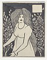 "Long-haired Woman in Front of Tall Rosebushes (Chapter Heading, Thomas Malory, ""Le Morte d'Arthur,"" J. M. Dent, 1893–4, Part IX, book xiii, chapter viii, p. 700, and Part XII, book xxi, chapter viii, p. 972) MET DP836138.jpg"