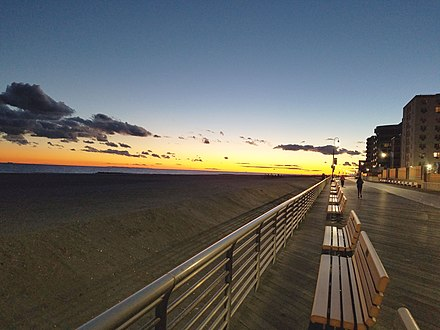 The rebuilt boardwalk in Long Beach, NY. Long Beach, NY boardwalk at sunset.jpg