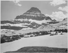 "Looking across barren land to mountains, ""From Logan Pass, Glacier National Park,"" Montana., 1933 - 1942 - NARA - 519864.tif"