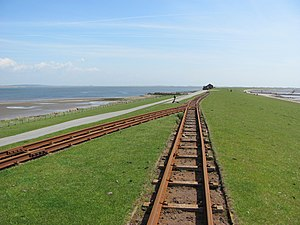 Zig zag (railway) - Zig zag to cross the outer dyke on the railway serving the island of Nordstrandischmoor off the German North Sea coast